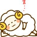 快適にサボっている羊のキャラクター