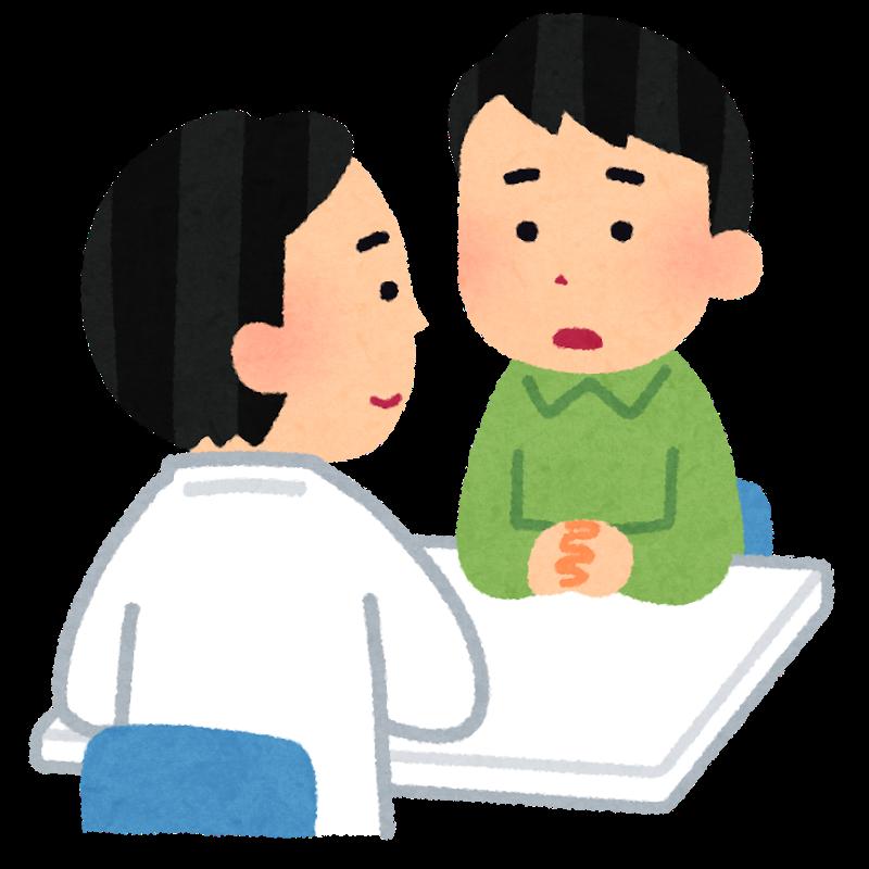 統合失調症の治療方法を説明する意思と患者の男性