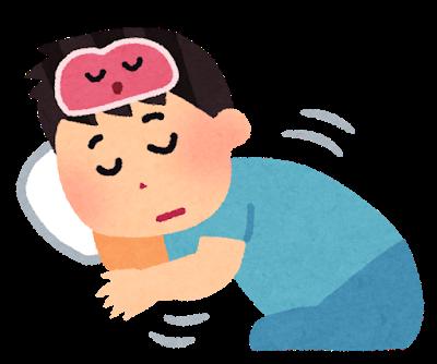 不眠症状により、住みん導入剤を服用して眠る男性
