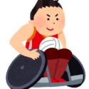 車椅子に乗りスポーツをする男性