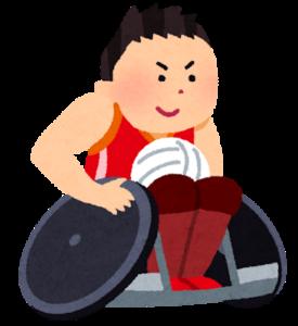 パラリンピックで車椅子に乗りスポーツをする男性