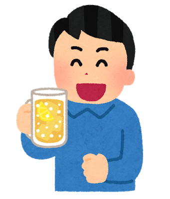 笑顔でアルコール・飲酒を楽しむ男性