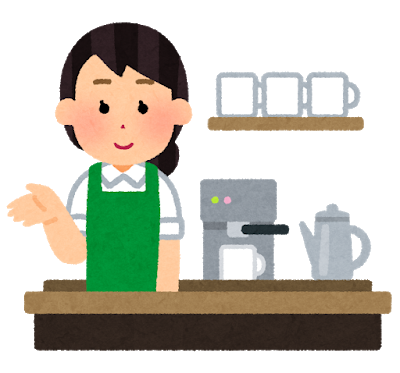 店舗のカフェで働く女性