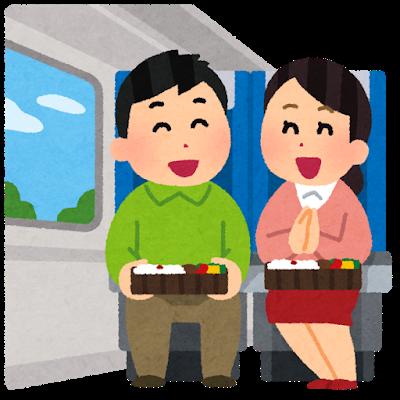 電車の中で旅を楽しむ様子